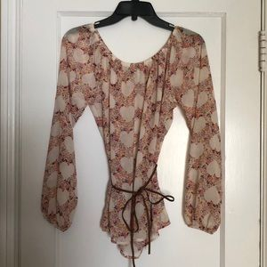 Forever 21 Heart Print Waist Tie Sheer Top Blouse